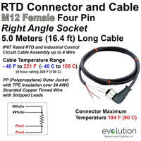 RTD M12 Connector Extension Cable Right Angle Female 5 Meters and Stripped Leads
