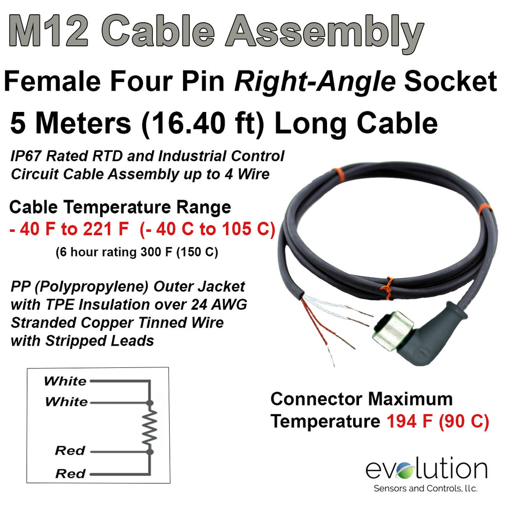 m12 rtd extension cable assembly 5 meters long female connector and 4 wire  rtd connection m12