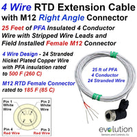 RTD Extension Cable 4 Wire Design M12 Female Connector 25 ft Leads