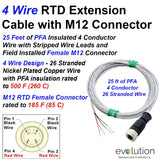 4 Wire RTD Extension Cable with M12 Female Connector with 25 ft Leads