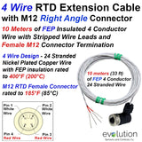 RTD Extension Cable 4 Wire Design M12 Female Connector 33 ft Leads
