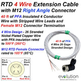 RTD 4 Wire Extension Cable M12 Right Angle Female Connector 40ft Leads