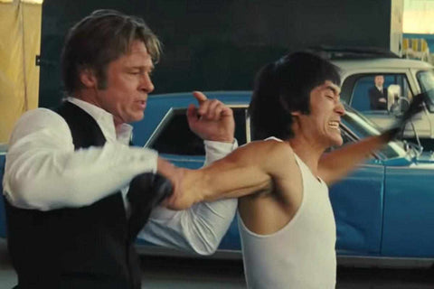 Cliff Booth Brad Pitt vs. Bruce Lee in Quentin Tarantino's Once Upon A Time In Hollywood