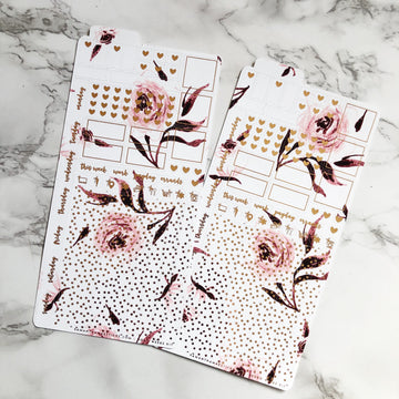 HK018 White x Pink Florals Hobonichi Weeks Sticker Kit