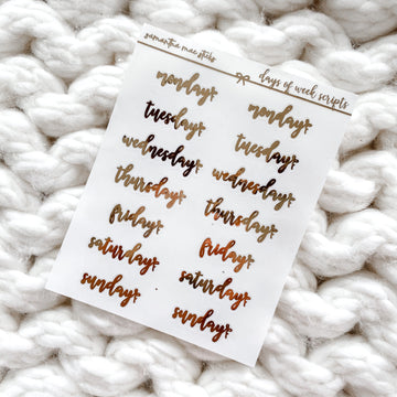 Clear Days of the Week Foiled Bows Scripts | RTS