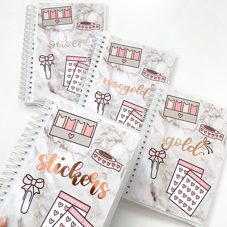 Sticker Reusable Book: Marble Planner Supplies + Foiled Organizer Foiled Cover