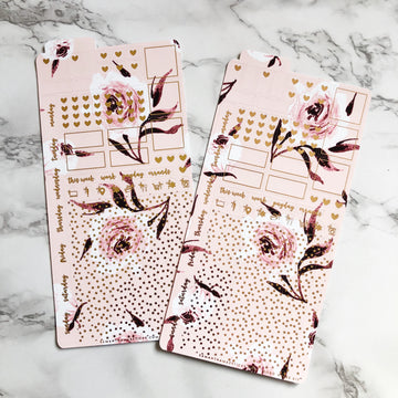 HK016 Bright Pink Florals Hobonichi Weeks Sticker Kit