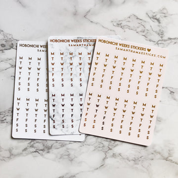 H006 Monday-Sunday Sidebar Hobonichi Weeks Foiled Stickers