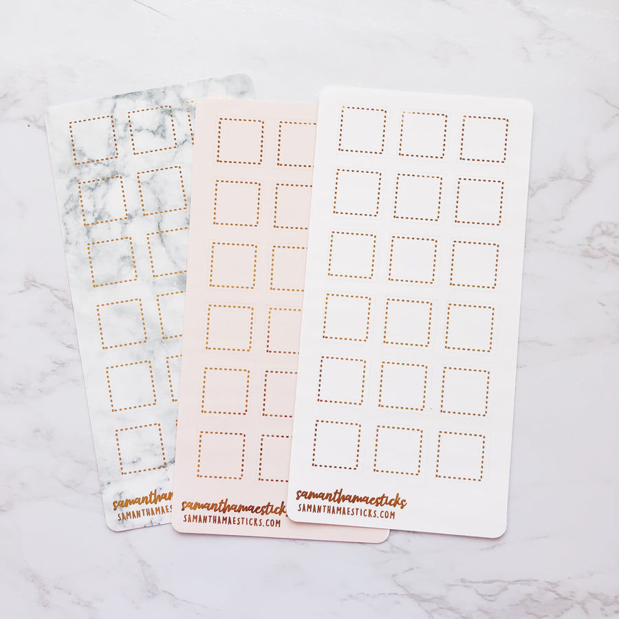 H033 Dotted Square Boxes Hobonichi Weeks Foiled Stickers