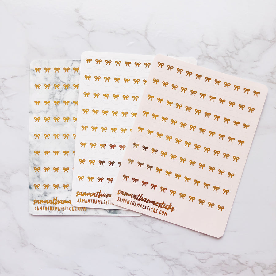 H026 Multiple Bow Scallop Banner Hobonichi Weeks Foiled Stickers