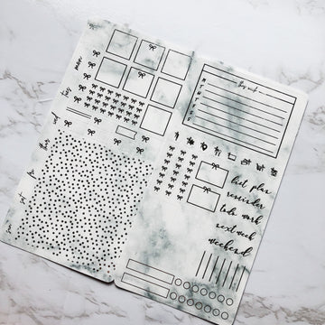 HK032 Marble Hobonichi Weeks Sticker Kit