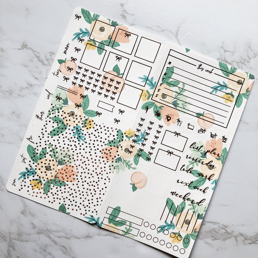 HK048 Summer Florals Hobonichi Weeks Sticker Kit