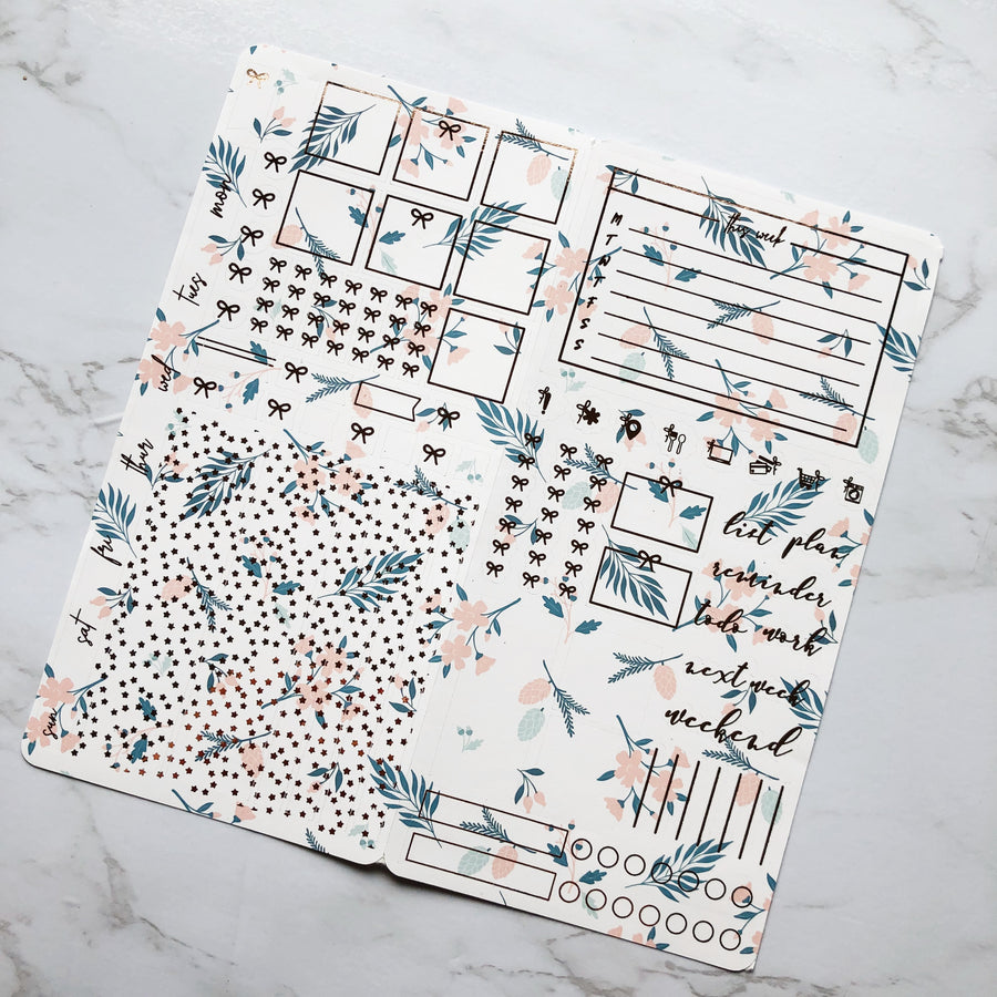 HK049 White Florals Hobonichi Weeks Sticker Kit