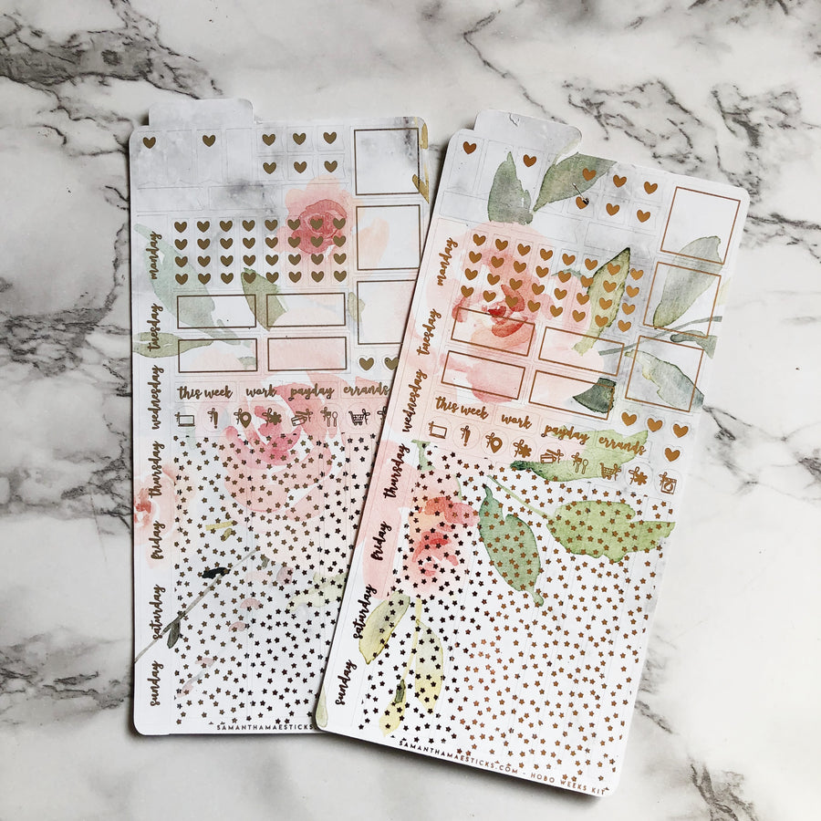 HK007 Marble Blush Floral Hobonichi Weeks Sticker Kit