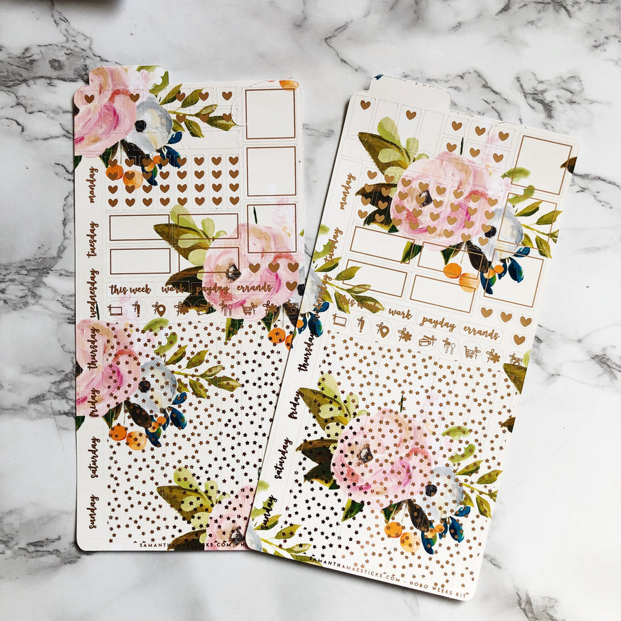 LAST CHANCE HK003 Tan Florals Hobonichi Weeks Sticker Kit