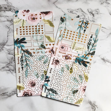 LAST CHANCE HK017 Taupe Florals Hobonichi Weeks Sticker Kit