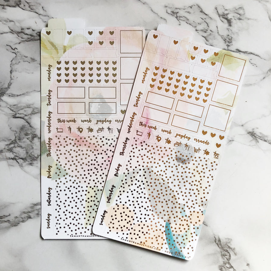 HK006 White Pink Petals Hobonichi Weeks Sticker Kit