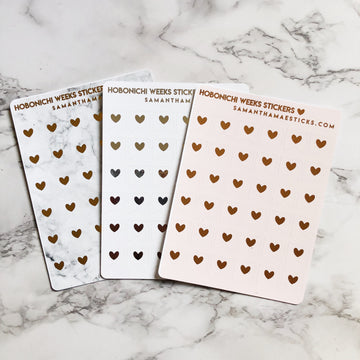H014 Big Heart Flags Hobonichi Weeks Foiled Stickers