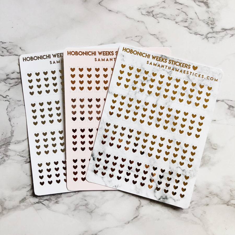 H001 Heart Checklists Hobonich Weeks Foiled Stickers