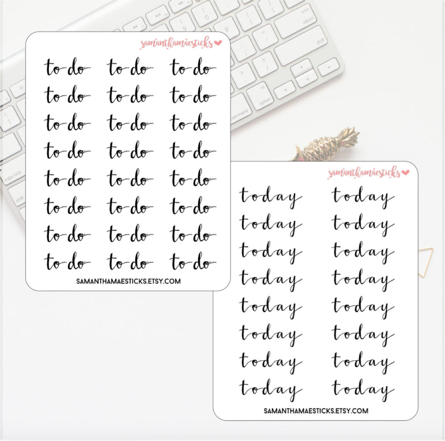 Lettering Script Priority, Remember, Note, Littles, Today, To do