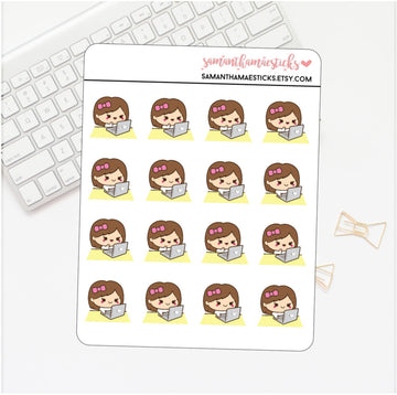 Kawaii Girl On Computer