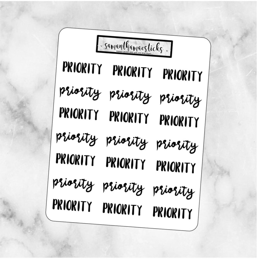 PRIORITY Lettering Script Words