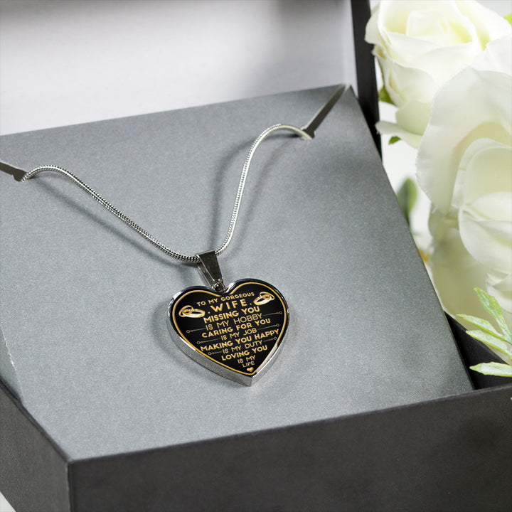 2fb87172a0a0 Gift For Her From Husband To Wife Missing You Is My Hobby Luxury Stainless  Steel Heart