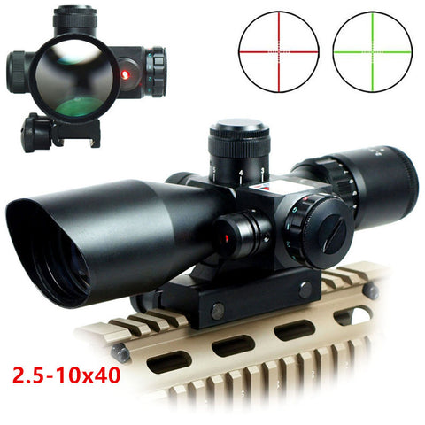 Tactical 2.5-10x40 Riflescope - Green Red Dual Illuminated Rifle scope