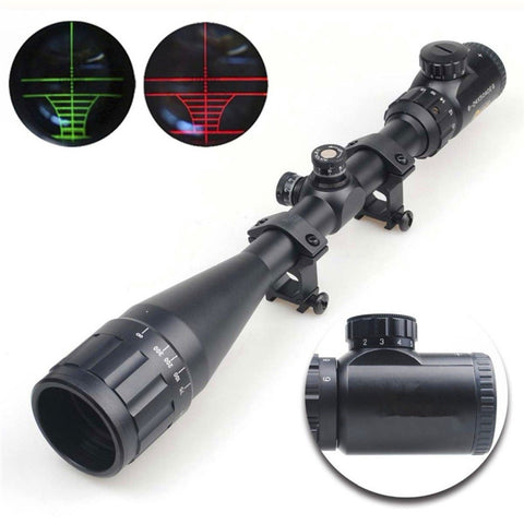 6-24X50 Adjustable Hunting Green Red Dot Illuminated Tactical Riflescope