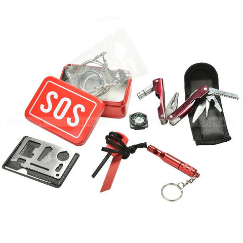 SOS Emergency Survival Kit Equipment Outdoor Camping Hiking Box