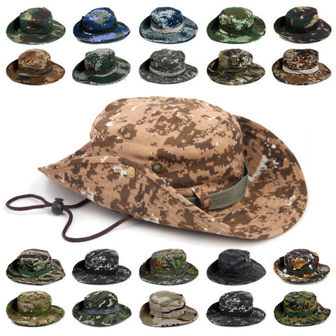 Camouflage Bucket Hats Wide Brim Sun Cap Ripstop Camo Fishing Hunting