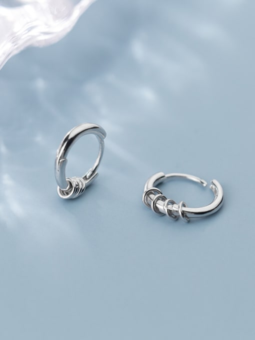 ROUND CLIP ON EARRINGS 925 STERLING SILVER RING