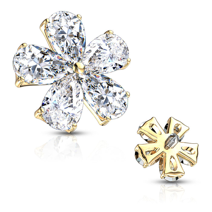 MICRO DERMAL PEAR CZ FLOWER GD