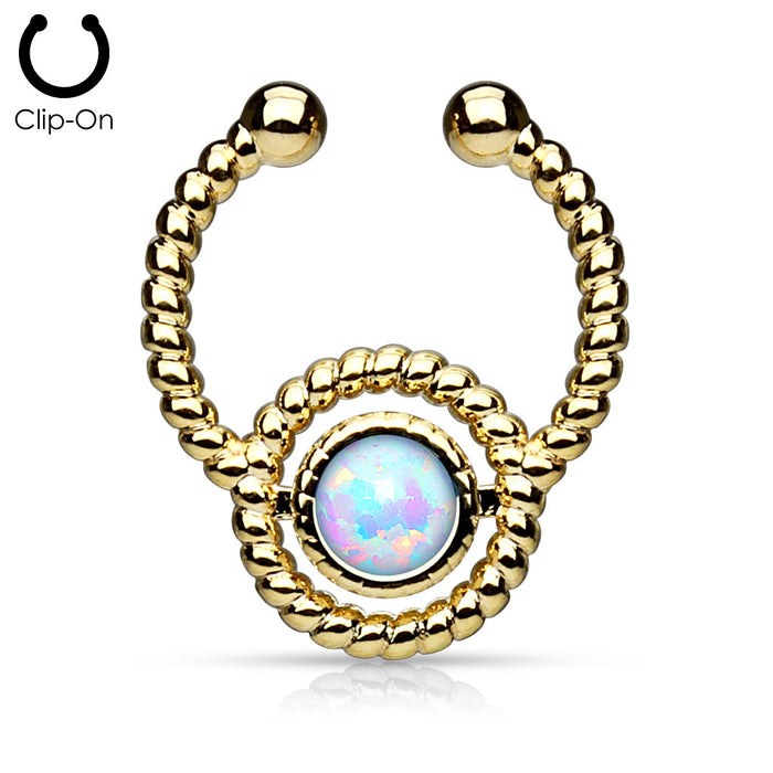 ROPED OPAL SEPTUM FAKE GOLD