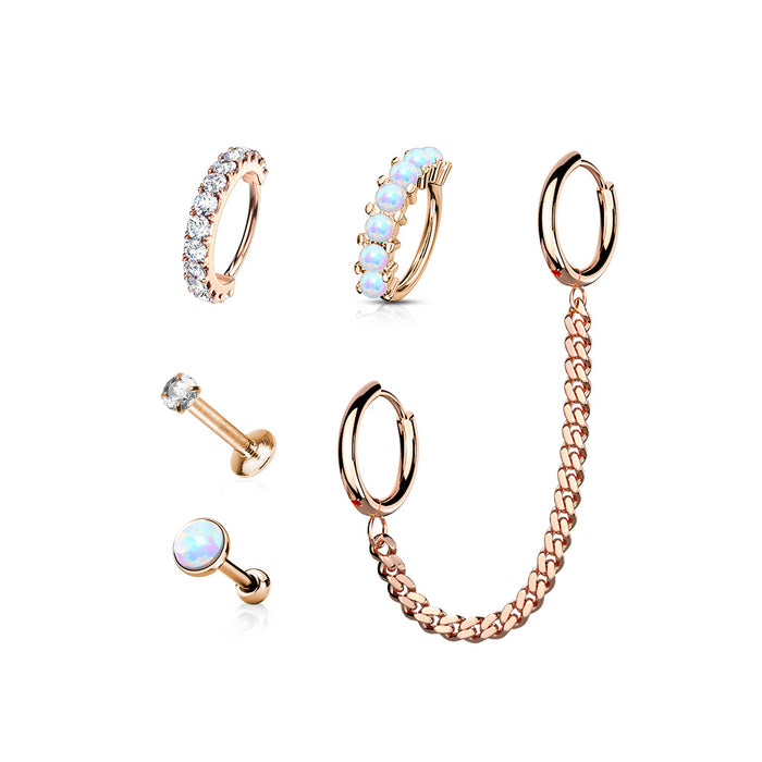 5 PCS CZ LABRET STUD, OPAL CARTILAGE BARBELL AND HOOP, CHAIN LINKED HOOPS