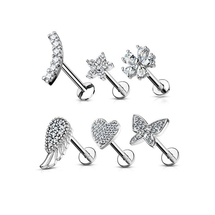 6 PCS ASSORTED SILVER