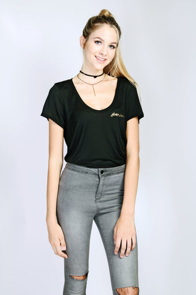 GOLDEN FLOWY TEE *MADE FROM 'THE WORLD'S SOFTEST ECO-FIBER'