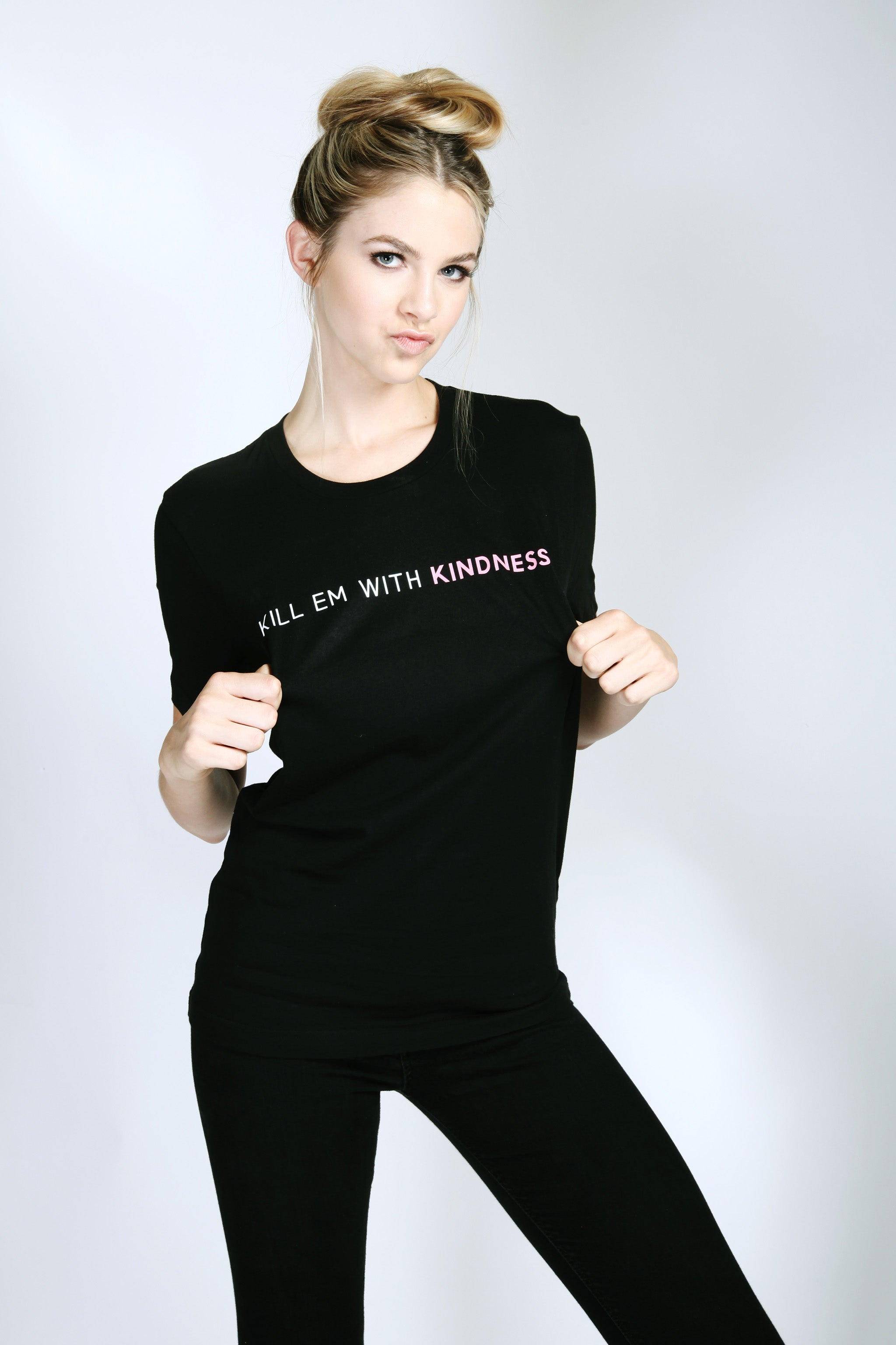 Kill-Em With Kindness T-Shirt Rocker Black Oversized Front View