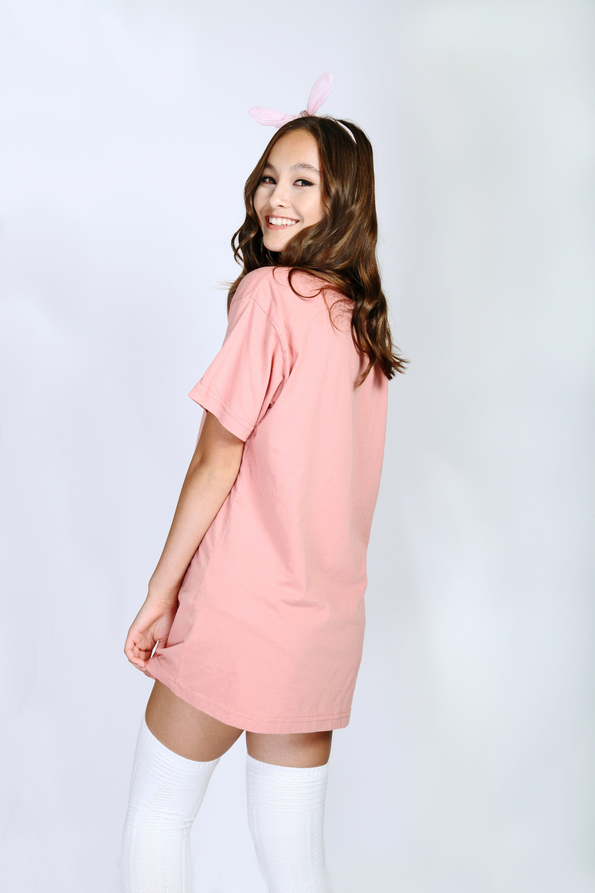 Cream Coral Super Comfy Oversized Cotton T-shirt Crew Back View