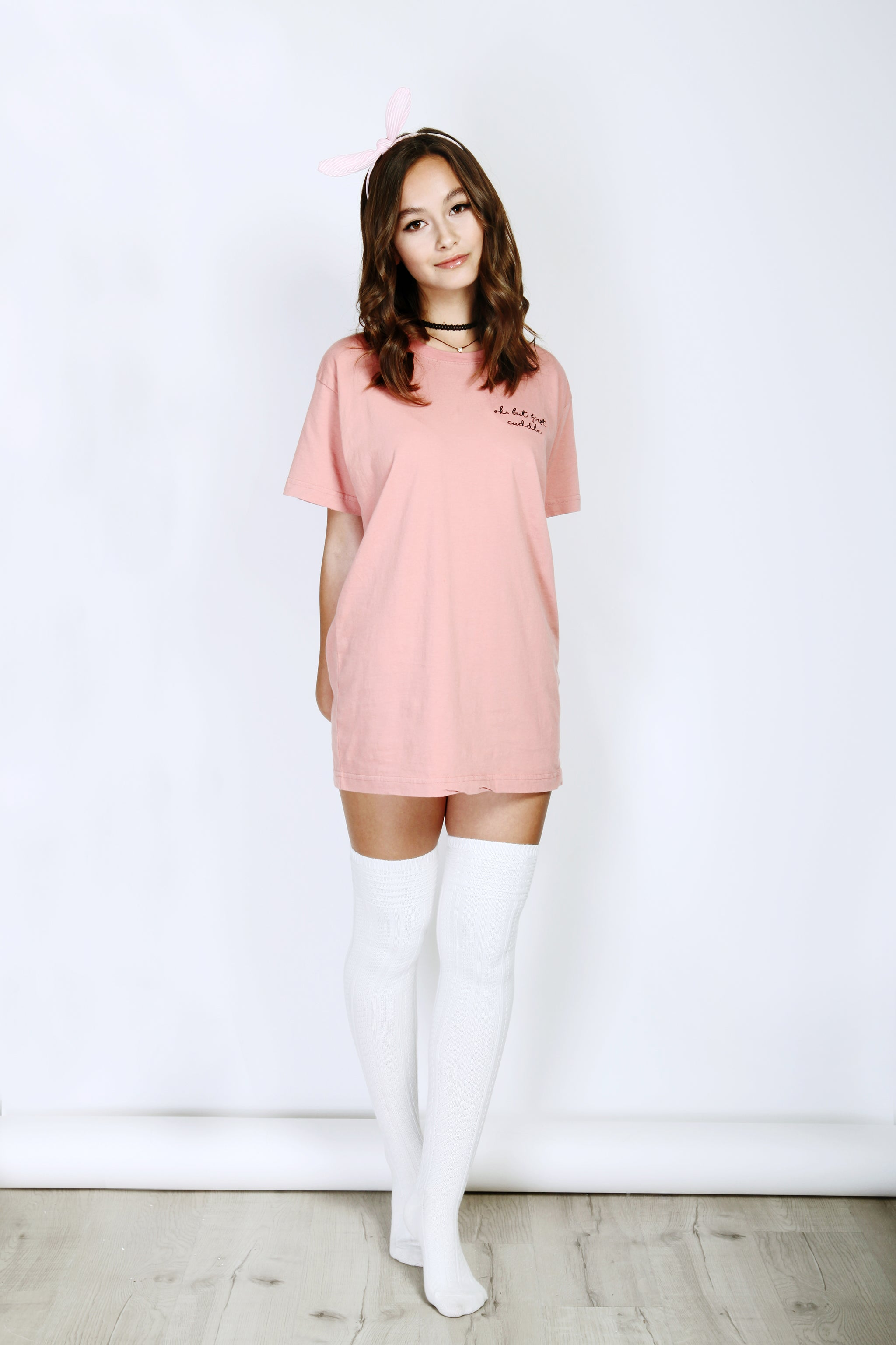 Cream Coral Super Comfy Oversized Cotton T-shirt Crew Whole Body Outfit View