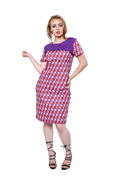 Purple Spring Cutout Shift Dress