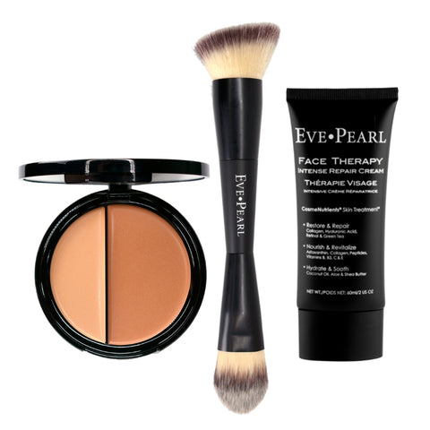 EVE PEARL Face Therapy Cream, Dual Foundation & 201 Contour Blender Brush