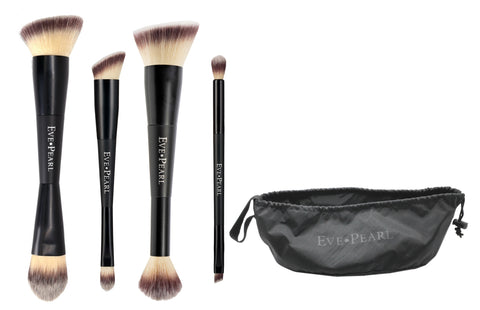 EVE PEARL 5-Pc Deluxe Dual Brush Set w/ Satchel MU Bag