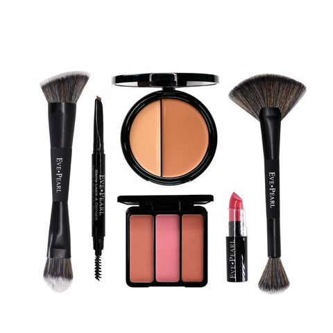 EVE PEARL 6-Pc Beautiful Face Collection; Foundation, Blush, Brow & Brushes