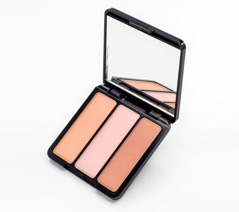 EVE PEARL Blush Trio & 204-Fan Highlighter Brush- Sweet Cheeks