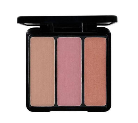 EVE PEARL Blush Trio & 204-Fan Highlighter Brush- Sassy Cheeks