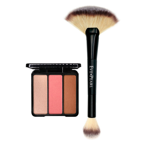 EVE PEARL Blush/Bronzer Trio & 204-Fan Highlighter Brush