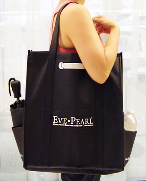 Large Non-Woven Tote Bag w Side Pockets – EVE PEARL   GreatFaces 65c6c28687ded