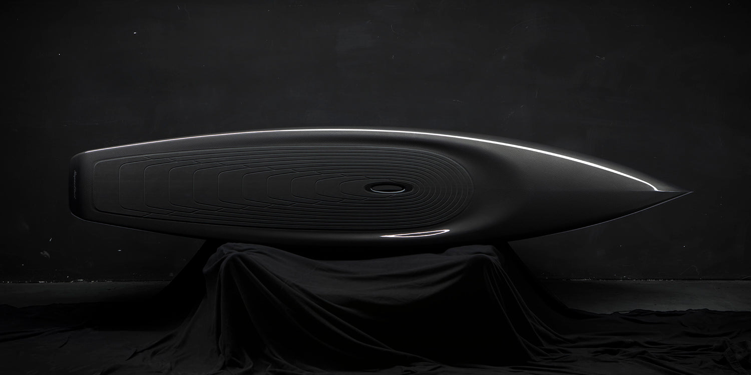 Borromeo deSilva's Super Fluid Stand Up Paddleboard is crafted of carbon fiber