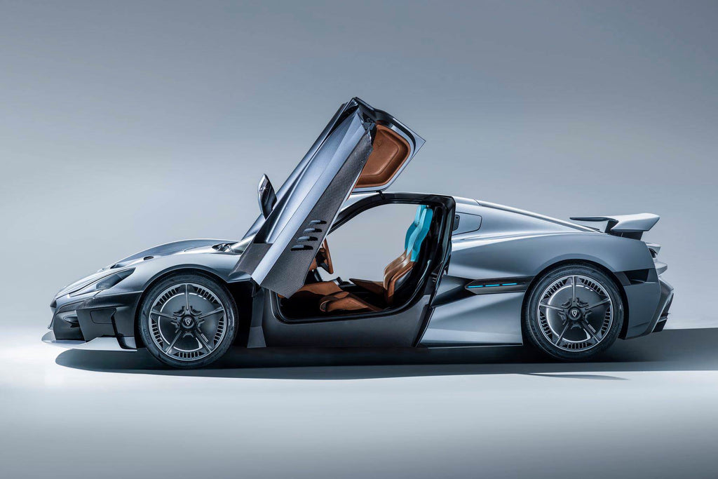 rimac concept two gullwing doors open side shot